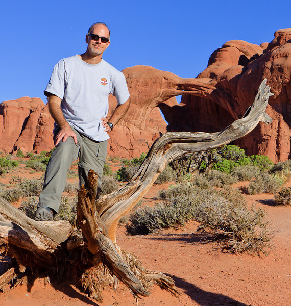 In front of Double Arches at Moab National Park, Utah.  2010.