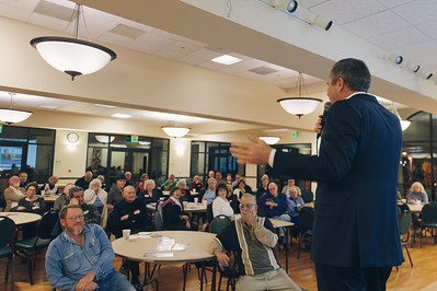LAGUNA WOODS, CALIF. - Congressional candidate Greg Raths speaks to voters of California's 45th district March 24. Raths, a retired U.S. Marine Col., spoke on policies regarding veteran benefits, education, healthcare and the economy. (Photo by Tommy Huynh)