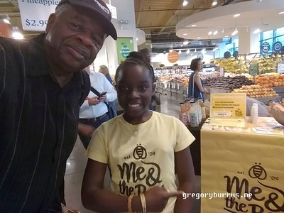Gregory Burrus with Mikaili Ulmer of Mikali and the Bees at Tribecca Wholefoods  #lovetolemonade