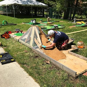 Sculpting a volcano for the miniature golf course