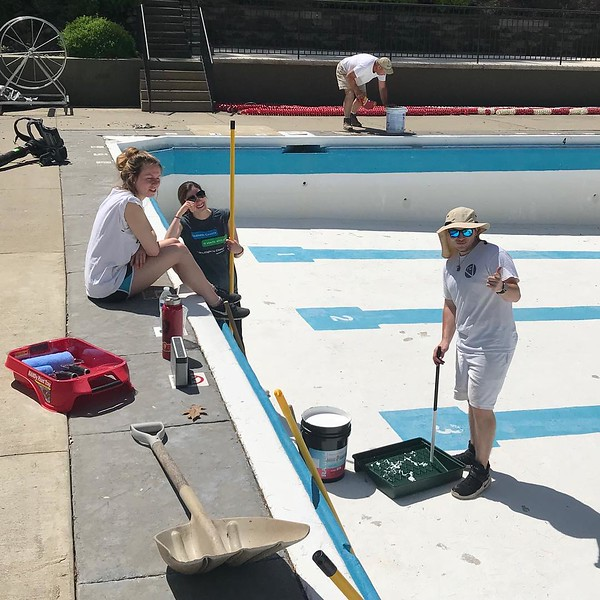 Repainting an Olympic length historic pool from the 1930's