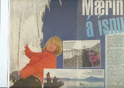 Grein í DV 24.ágúst 2005 um FatFace samninginn og fótoshootin á Svalbarða og Hintertux.