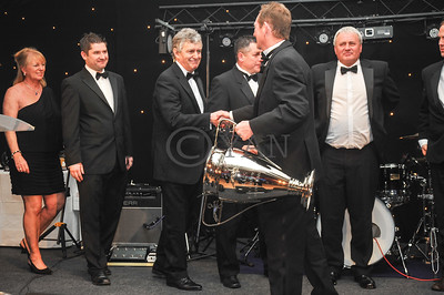 Jim Woods (Monmore) relinquishes the Bags Trophy to 2012 victors Newcastle
