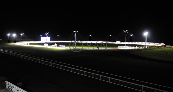 TOWCESTER greyhound track on official launch night. (View from the Grace Stand) Saturday13th December 2014. Photo: Steve Nash
