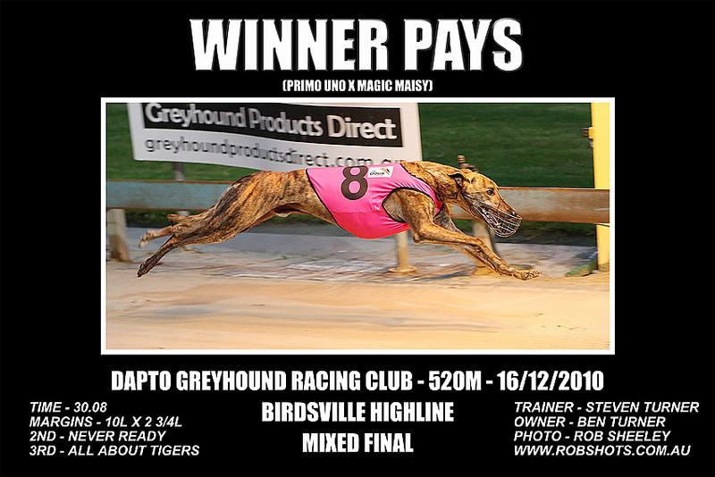 Dapto_161210_Race02_Winner_Pays