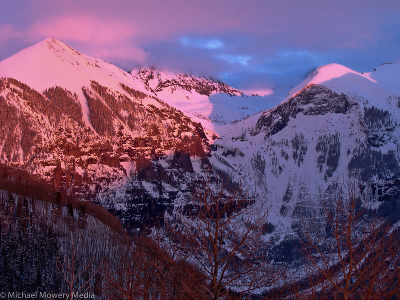 Alpine glow at its best.  The peaks were very pink.  Times like this is why I came up here in the first place.