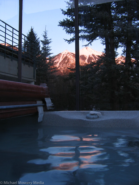Sitting in the hot tub watching the alpine glow.