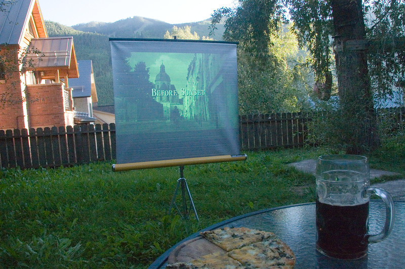 """Watching """"Before Sunset"""" in the new outside movie at 430 West Dakota"""