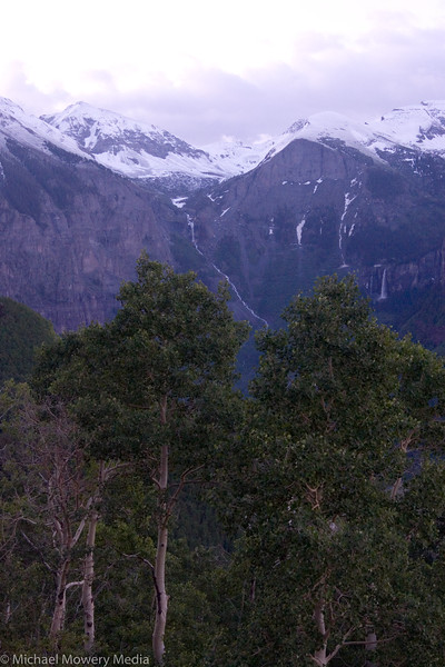 Early light on Ingram and Bridal Veil Falls from the top of the Jud