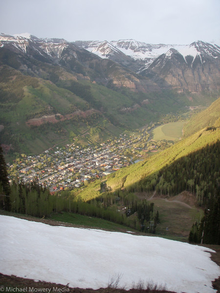 Looking down on the town of Telluride from the top of the Milk Run