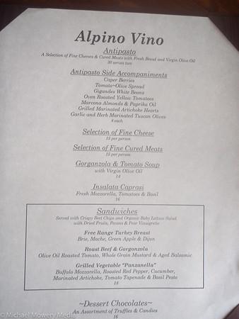 Alpino Vino Food List