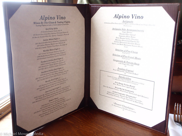 The menu (with prices) at Alpino Vino