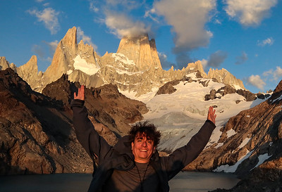 Hike up to Mount Fitz Roy  Gotta love the smile on my face. Self timer