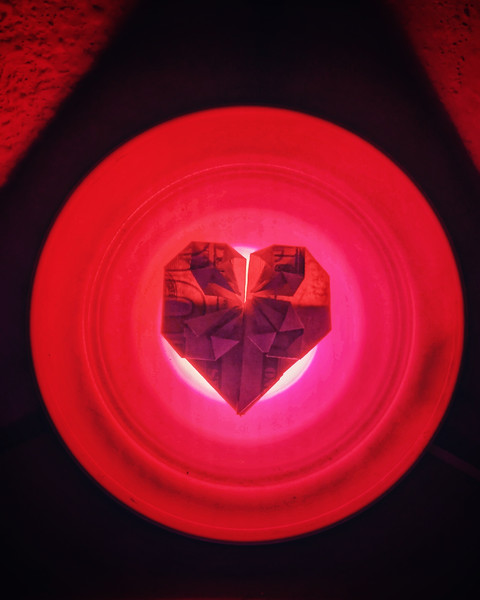 Finally made it to post office to pick up my #valentine card from Mom (Marsha Mowery). $100 bill in shape of #heart displayed on my #colored #light #photooftheday #day49