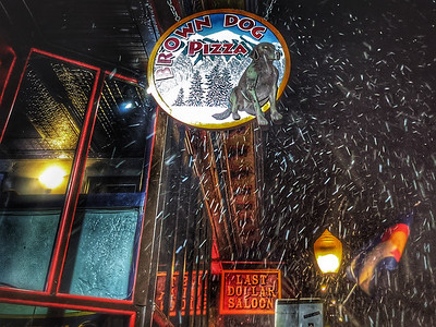 @alpenschatz and MaryDawn DeBriae  #business dinner at #browndogpizza on a #snowy night #day41 #photooftheday #telluride #colorado