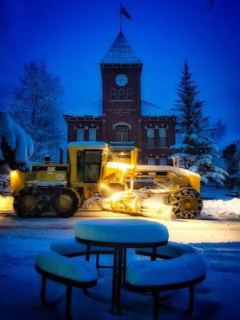#courthouse in picture, check.  #snow #depth on #table check.  Saying #THANKS to #town of #telluride snow removal team. Big #check #colorado