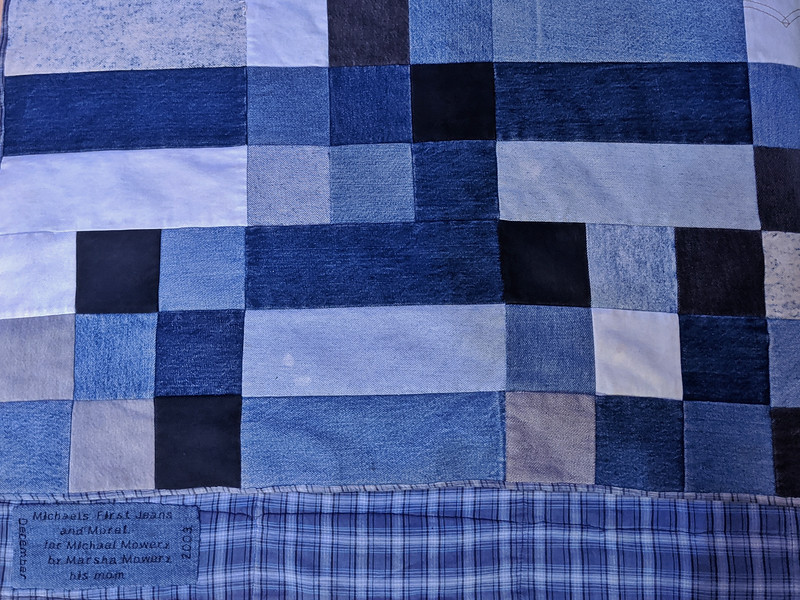 """""""Michael's First Jeans and Morel, for Michael Mowery by Marsha Mowery, his Mom, December 2003"""". Easily one my prized possession that I show everyone on #sleepover . #first #jeans #acidwashjeans #quilt #photooftheday #day9 with Marsha Mowery"""