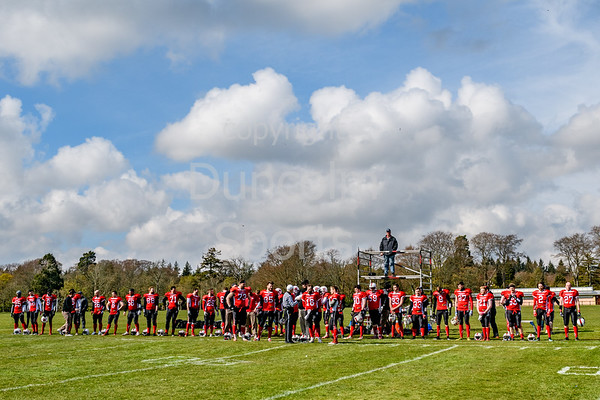 14th April 2019 at Hazlehead Park, Aberdeen.<br /> BAFA Division NFC1 North match - Aberdeen Roughnecks v East Kilbride Pirates