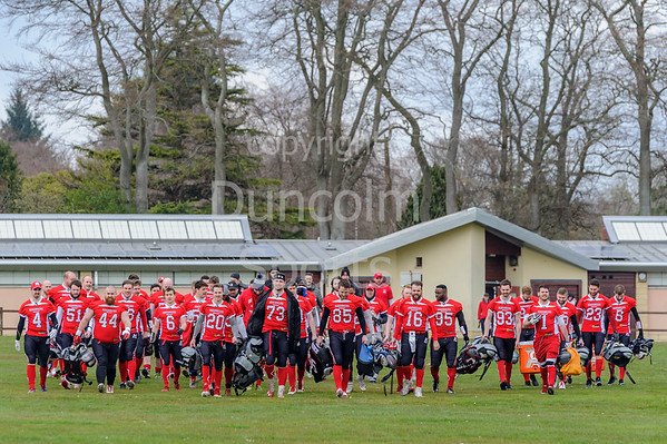 14th April 2019 at Hazlehead Park, Aberdeen.<br /> BAFA Division NFC1 North match - Aberdeen Roughnecks v East Kilbride Pirates