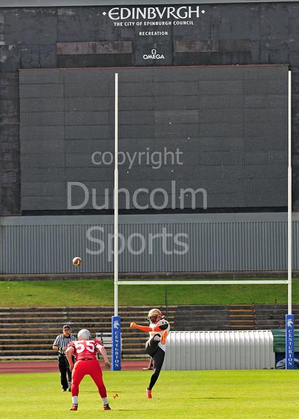29 August 2015 atMeadowbank Stadium.<br /> BAFANL Division 1 play-off match:<br /> Edinburgh Wolves v Clyde Valley Blackhawks.