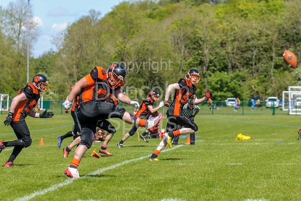 14 May 2017 at Lochinch. BAFA Division2 American Football - Glasgow Tigers v Clyde Valley Blackhawks