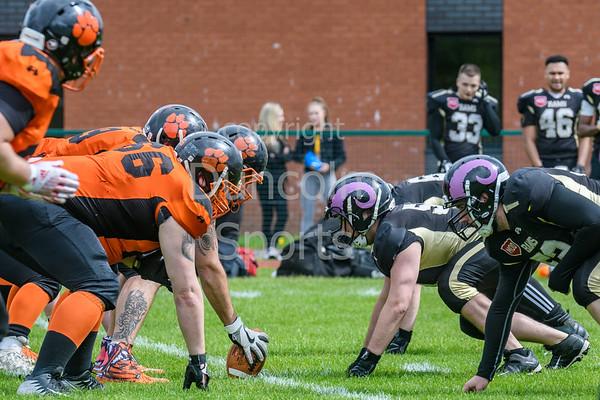 28 April 2019 at Nethercraigs, Glasgow. <br /> BAFA Division NFC1 North game - Glasgow Tigers v Yorkshire Academy Rams