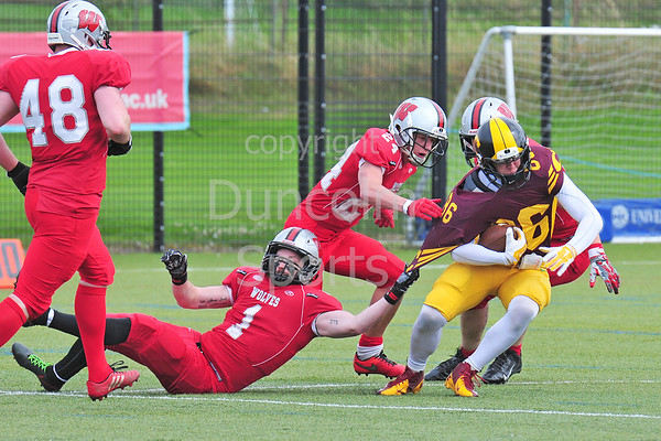 7 August 2016 at Peffermill. Edinburgh Wolves v Nottingham Caesars. BAFA Division 1 play-off match