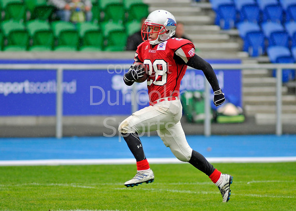 West Coast Trojans v Dundee Hurricanes. A BAFACL Division 2 match at Scotstoun Stadium on 7 August 2011.