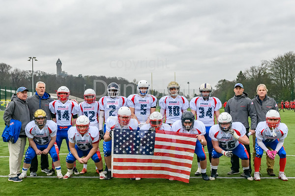 6 April 2019 at the University of Stirling.<br /> International challenge match - East Kilbride Pirates Juniors v team Stars and Stripes