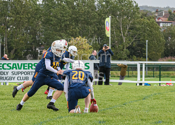 18 August 2019 at GHA Rugby Club. BAFA under 19 play-off semi-final. East Kilbride Pirates v Birmingham Lions