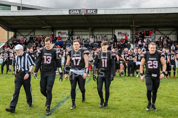 2 June 2019 at GHA Rugby Club, Braidholm, Glasgow. BAFA Division 1 North match - East Kilbride Pirates v Gateshead Senators.