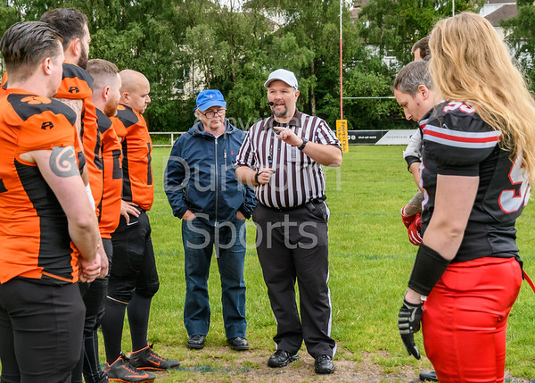 16 June 2019 at Braidholm, Glasgow. BAFA North Division 1 match -  East Kilbride Pirates v Glasgow tigers.