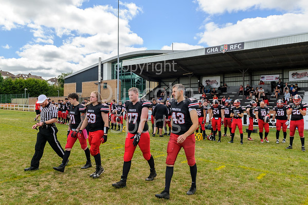 8 July 2018 at GHA Rugby Club, Glasgow. <br /> BAFA Premier Division match - East Kilbride Pirates v Merseyside Nighthawks