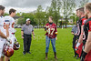 20 May 2017 at Burnbrae, Glasgow. American Football International challenge match - East Kilbride Pirates v Claremont-Mudd-Scripps Stags. Susan Wilson, principal officer at the US Consulate General, Edinburgh, performs the coin toss.