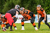 16 June 2019 at Braidholm, Glasgow. BAFA North Division 1 match -  East Kilbride Pirates v Glasgow tigers.