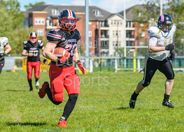 12 May 2019 at GHA Rugby Club, Glasgow. BAFA Division 1 North Match - East Kilbride Pirates v Yorkshire Academy Rams