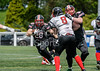 9 June 2019 at Druid Park, Newcastle. BAFA North Division 1 match - Northumberland Vikings v East Kilbride Pirates.