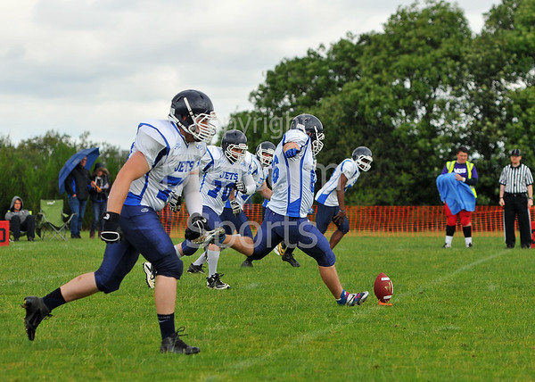 East Kilbride Pirates v Coventry Jets. A BAFACL Premier Division game at Hamilton RFC on 27 July 2014.