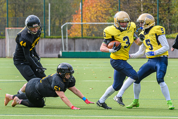 3 November 2019 at Garscube. BUCS American Football Division 2A Borders match -Glasgow University Tigers v Heriot Watt University Wolverines.