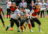 30 June 2019 at Nethercraigs. BAFA NFC1 North game - Glasgow Tigers v Northumberland Vikings.