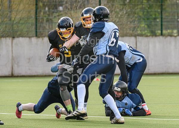 23 February 2020 at Garscube, Glasgow. BUCS Division 2 Borders match - Glasgow University Tigers v York St John Jaguars.