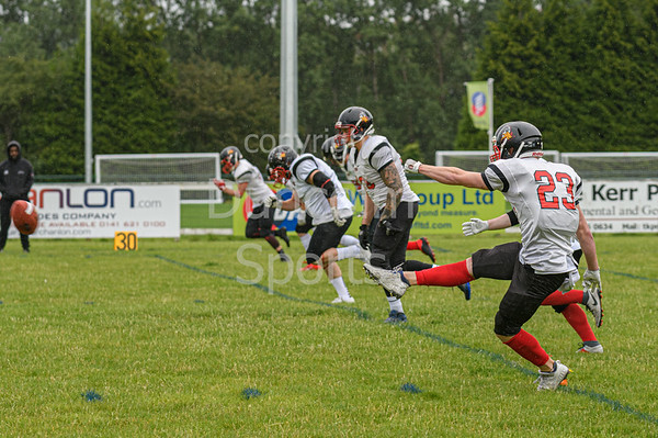 21 July 2019 at GHA Rugby Club. BAFA Division 1 North match - East Kilbride Pirates v Northumberland Vikings