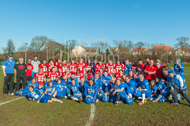 25 March 2016 at Queensferry Rugby Club. BAFA American Football Sapphire Women's Series, Round 3. <br /> Edinburgh, Wolves and Manchester Titans