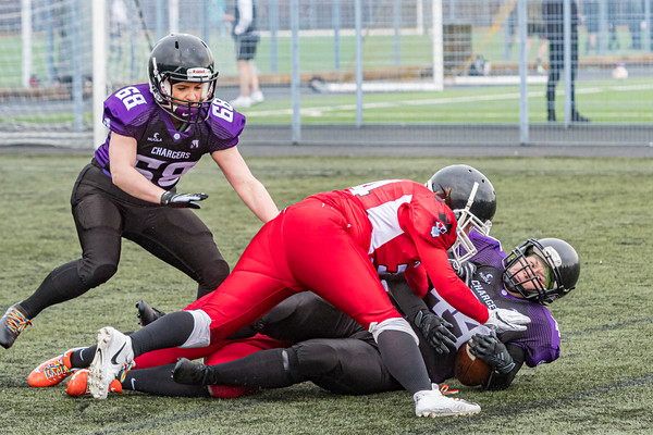 1 February 2020 at Toryglen, Glasgow. BAFA Sapphire Series match - East Kilbride Pirates v Leeds Carnegie Chargers