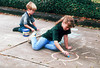 1996 12 Ben and Melissa practice some chalk art