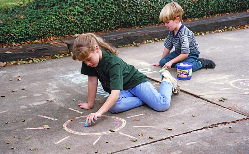 1996 TX Melissa and Ben doing a little driveway chalk art