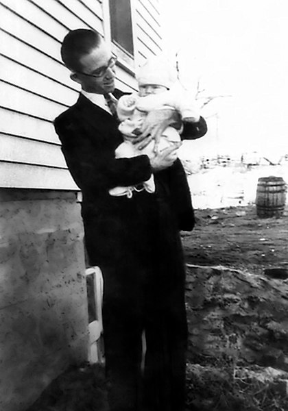 1930 - The photo shows dad holding Anna Maree Grigsby (Miers) sometime shortly after she was born on September 7, 1930.  Bud and Neva Blair were married on February 1, 1930.   They were divorced on December 1, 1933.  I wonder if that was Dad's graduation/wedding suit he's wearing?  This picture comes courtesy of dad's grandson and our nephew, Jim Miers.