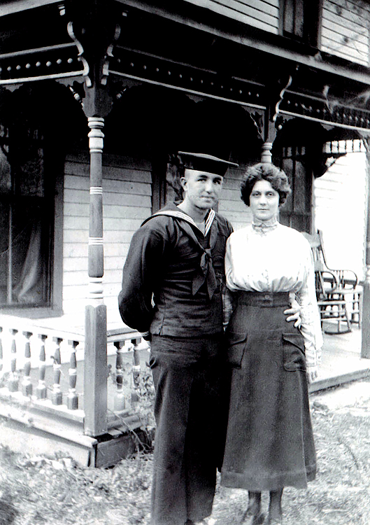 1917 - Charles and Flossie Grigsby:  Dad's oldest brother, Charles, taken in Williamsburg, Kansas.  Wearing his WWI navy uniform Charles (born 1896) poses with his wife Flossie.  Their daughter, Phyllis Grigsby Jones lives in Lawrence, Kansas with husband Martin Jones.