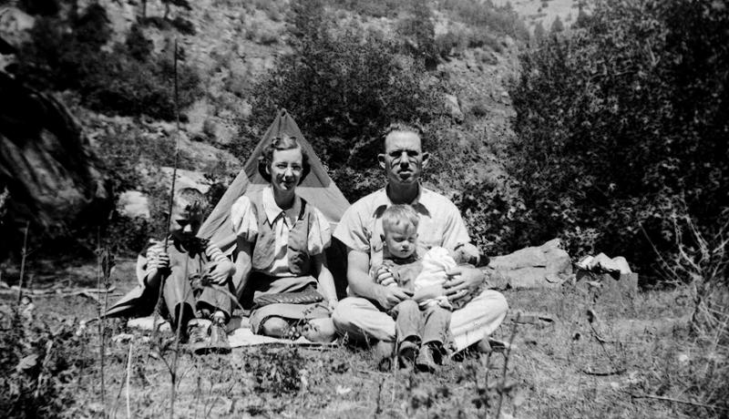 1939 - Grigsby Campers.  Grandmother Lida Graves Grigsby probably took this photo of the Grigsbys roughing it in the Rockies.  We were living at 1276 South Pennsylvania in Denver at the time.