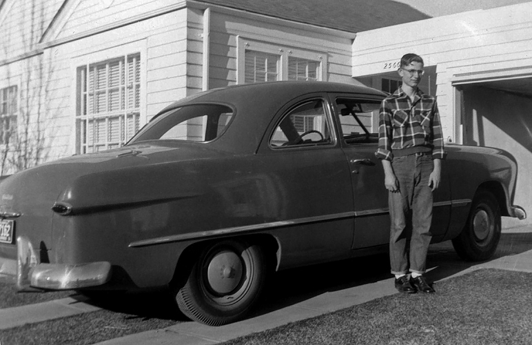 1951 - The Fonz:  1949 Ford Tudor and Bill.  This chick magnet got his driver's license in October of 1950 and the car the following spring while working part time at the Consumers CO-OP on the south east corner at South Broadway and Bates in Englewood.